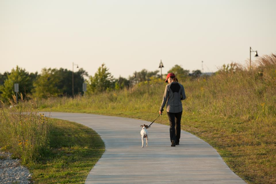 Woman walking dog on Three Oaks trail